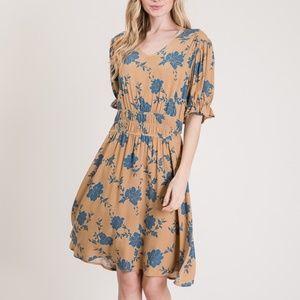 Floral Printed Elastic Waistband Dress